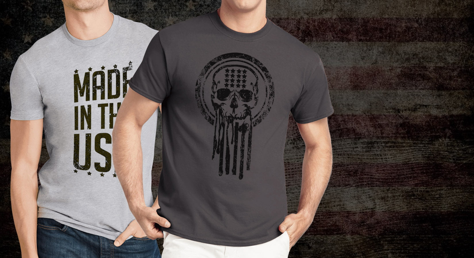 Men's American Military Distressed Style Novelty Shirts